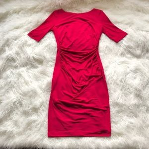 VINCE CAMUTO RED RUCHED SIDE DRESS